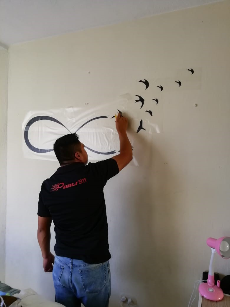 instalacion vinilo decorativo de corte guatemala - pajaros volando