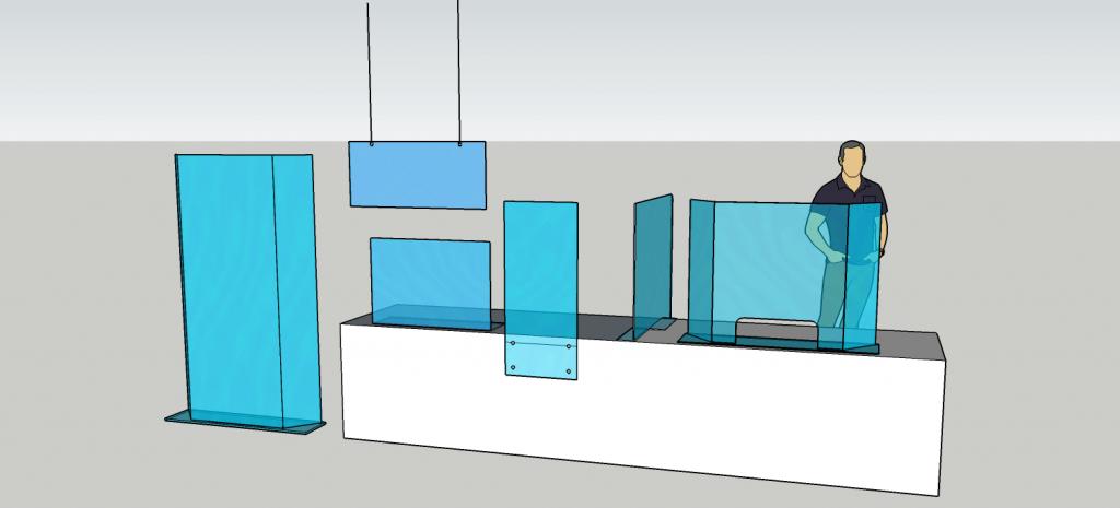 diseños barreras acrilico anticontagio guatemala - mamparas anticontagio guatemala